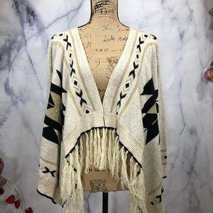 Tea n Cup BOHO Aztec Fringe Cardigan Sweater